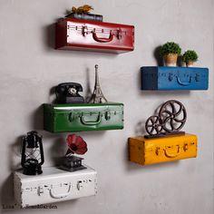 retro antique style home decor Suitcase Shelves, Suitcase Decor, Indian Room Decor, Ethnic Home Decor, Diy Home Crafts, Diy Home Decor, Vintage Industrial Decor, Plant Shelves, Retro Ideas