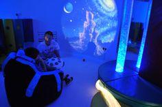 A cool blue sensory room