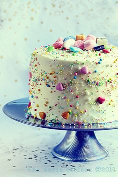 cake topped with candy....