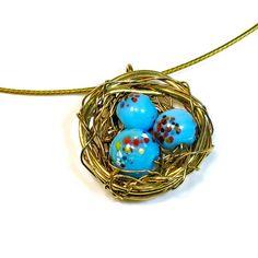 Nest Pendant Robins Nest Necklace Handmade Gift by BluKatDesign