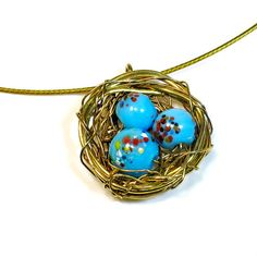 Speckled Robins Birds Nest Necklace Pendant, Boho,  Handmade Gift Ideas, Handcrafted,  Gift For Mom, Woodland