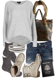 Topshop rib shirt / Rag & Bone blue jeans / ASOS short socks, $6.77 / American Eagle Outfitters gray boots / Caterina Lucchi brown purse, $325 / Stella Dot silver bangle