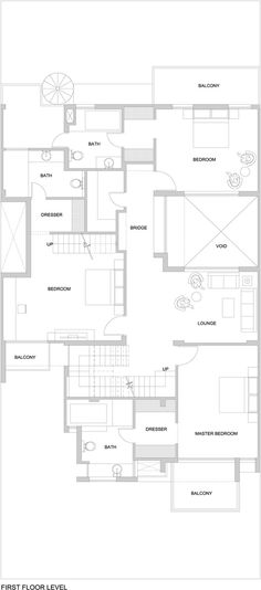 Image 28 of 31 from gallery of The Overhang House / DADA & Partners. First Floor Plan Basement Floor Plans, House Floor Plans, Architecture Plan, Residential Architecture, House Design Pictures, Ground Floor Plan, House Drawing, House Layouts, Architect Design