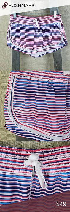 Lululemon womens 10 striped colorful lined running Lululemon women's 10 striped colorful lined running shorts lululemon athletica Shorts