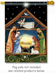 "Bethlehem Flag by artist Susan Winget for Breeze Art. The manger scene is visible from both sides of the flag - size 28"" Wide x 40"" Long and fits standard decorative flag poles. ** Free shipping to anywhere in the USA **"