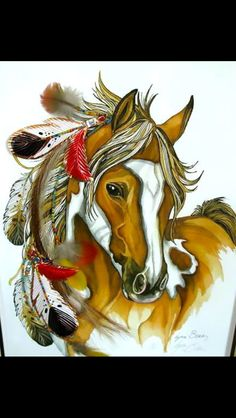 Colorful Indian Horse Tattoo Design - Indian horse with feathers. Horse Drawings, Animal Drawings, Pretty Horses, Beautiful Horses, Indian Horse Tattoo, Horse Tattoo Design, Tattoo Designs, The Animals, Native American Horses