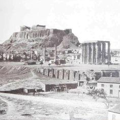 temple of zeus & the acropolis beyond, late Parthenon, Acropolis, Antique Photos, Vintage Photos, Destroyer Of Worlds, Famous Landmarks, Vintage Photography, Athens, Entrance