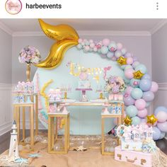 Mermaid Theme Party by Inspiring Krislaine Reusing ⠀ .⠀ Get Inspired and Make the Party SHOPFESTA ? Balloon Decorations, Birthday Party Decorations, Baby Shower Decorations, Party Themes, Birthday Parties, Party Ideas, Birthday Ideas, Balloon Ideas, Baby Birthday Themes
