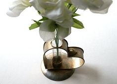 Valentine Vase Glass Test Tube and Metal Heart Shaped by Rinnovato, $18.00