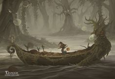 Lethargy forest lumia Picture  (2d, illustration, concept art, fantasy, magic, forest, adventure, boat)