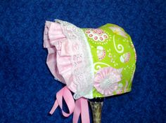 Baby Sun Bonnet in Green and Pink with Birds by AdorableandCute, $24.00