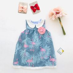 Tea Rose Dress in Summer Flamingo Blue Print