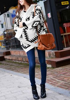This cozy Aztec print cardigan features batwing sleeves, ribbed edges and open front. | Lookbook Store Fall Style