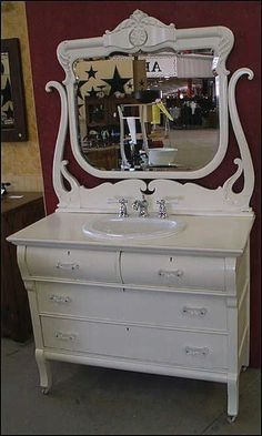 Photo of Front View - Antique Bathroom Vanity: Shabby Chic White Antique Dresser with Sink & Faucet