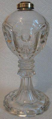 1850s EAPG FLINT GLASS BULLSEYE FLEUR DE LIS OIL LAMP attrib. to UNION GLASS CO., Somerville, MA with BANNER BURNER (P Mfg. Co., Waterbury, Conn.) and clear glass chimney.