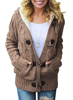 e6bcacef92a Women Button Up Cardigan Knit Hooded Cable Sweater Coat Outwear