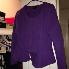 Asos purple peplum jacket Very cute very old from several seasons ago. Cleaning out my closet... All offers welcome. This is no where near new... Doesn't really have imperfections but you can tell it has been worn and washed quite a bit. If you have questions please ask... Accepting offers ASOS Jackets & Coats
