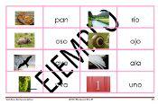 Serie Rosa-Láminas y Palabras de 3 letras