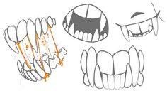 """Manga Drawing Techniques shroudedsadow: """"Lolli's new chompers """" - Teeth Drawing, Body Drawing, Manga Drawing, Drawing Faces, Drawing Techniques, Drawing Tips, Learn Drawing, Drawing Reference Poses, Art Reference"""