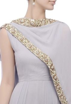 Grey & gold-embroidered kurta set