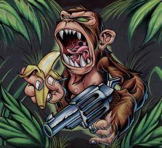 Paradise Tattoo Gathering : Original Art : Tony Ciavarro : monkey with . Graffiti Drawing, Graffiti Art, Tattoo Design Drawings, Cool Drawings, Desenho New School, Aztecas Art, Monkey Tattoos, Monkey Art, Graffiti Characters