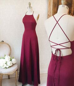 Backless Prom Dress, Burgundy Prom Dress, Simple Satin Long Evening Gown With Straps #prom #dresses #promdress #promdresses #fashion