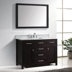 Shop Virtu USA Caroline Espresso Undermount Single Sink Oak Bathroom Vanity with Natural Marble Top (Common: 49-in x 22-in; Actual: 48.8-in x 21.9-in) at Lowes.com