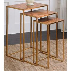 Uttermost Copres Gold Leaf Iron 3-Piece Nesting Table Set