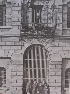 Newgate Prison on Green Street,the iron balcony above were prisoners were hung for public hangings,this prison was demolished in 1980s