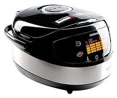 Si no sabes qué robot de cocina comprar, aquí tienes modelo multi-cook con unos sensacionales 45 programas, de los que 17 son automáticos y 28 deben ejecutarse manualmente, como por ejemplo sopa, yogur, hervido, vapor, pizza, pasta freír… Posee un panel sensorial multifunción con pantalla LCD que se ilumina y que reacciona al tacto (no es necesario apretar botones), con la desventaja de que está todo en inglés.  El producto está fabricado en cerámica de color negro metálico y mesa un kilo…