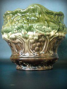 Vintage Jardiniere Planter Majolica Green Art Nouveau Pottery Grape Leaves