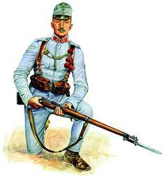 Żołnierz piechoty austro-węgierskiej uzbrojony w karabin Mannlicher wz. 1895 z bagnetem