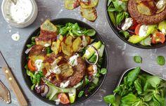 Hamburgersalade Love Food, A Food, Food And Drink, Salad Recipes, Nom Nom, Bbq, Favorite Recipes, Lunch, Snacks