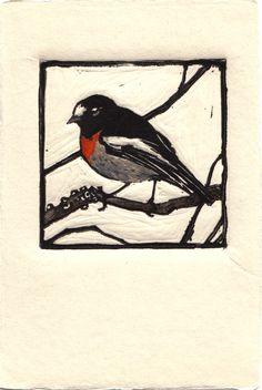 Original-Kunstwerken, Vogel Zeichnung, Lino-Print, Vogelkunst, Aquarell Vogel, Wohnkultur, Grußkarte, Druckgrafik, Linolschnitt Vogel, Linolschnitt Kunst