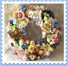 Ephemera Easter Chick Wreath - love these collage type wreaths, has given me a lot of ideas of how to display nostalgic/sentimental objects! Hoppy Easter, Easter Bunny, Easter Eggs, Easter Chick, Vintage Easter, Vintage Holiday, Holiday Fun, Holiday Crafts, Easter Parade