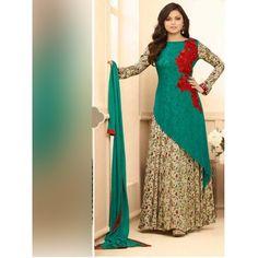 Breathtaking Partywear Designer Embroidery Red Golden Georgette Salwar Suit