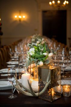 ann whittington events elegant rehearsal dinner southern style country club table with mercury glass candleholder antler decor white tulips White Tulips, Mercury Glass, Rehearsal Dinners, Southern Style, Wedding Centerpieces, Real Weddings, Candle Holders, Wedding Planning, Events