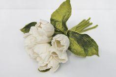 9 x Weiße Tulpen gefilzter großer Blütenstrauß Wohnung von mafiz