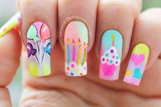 Decoración de uñas cumpleaños - Happy birthday nail art