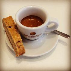 Enjoying an awesome delicious creamy organic espresso!  #instagood #instadaily #instacoffee #good #food #awesome #organic #espresso #coffee #passion #coffeeroaster #biscotti #photo #kaffee #foto #kaufmannswiesbaden #wiesbaden