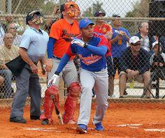 Major League Baseball Player Home Run | Major league baseball player infielder Kennen Bailli, playing for the ...