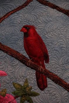 Someday, I'll be able to quilt this way-Handmade silk fibers and silk threads make up the bird, tree and flowers.