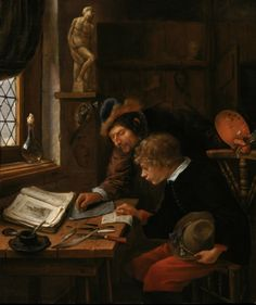 """""""The Drawing Lesson"""" by Jan Steen. Abt. 1665-66, oil on panel. As the best-known visual comedian during the Dutch Golden Age, Steen deliberately composed his genre scenes as complex allegories, painstakingly portraying countless details. In this painting, however, Steen replaces chaos with order, and vice with virtue in the form of learning. From the Rose-Marie and Eijk van Otterloo Collection, generously on loan (2015) to The Birmingham (AL) Museum of Art for their """"Small Treasures""""…"""