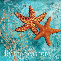 Marine Life Painting - By The Sea Shore Original Coastal Painting Colorful Starfish Art By Megan Duncanson by Megan Duncanson