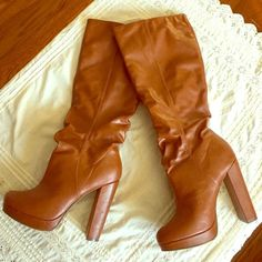 Michael Antonio knee high cognac boots Beautiful Michael Antonio cognac boots in excellent condition. Worn a handful of times. Gently used. Gorgeous cognac color. Knee high and perfect for fall or winter. 4 1/2 inch heel and 3/4 inch platform. Comfortable, stylish, and sexy. ⭐️no trades ⭐️bundle discount ⭐️fast shipper Michael Antonio Shoes Heeled Boots
