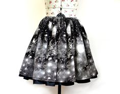 Galaxy Skirt Space Skirt Black and White by MissEngagedBoutique