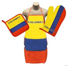 16c880d0e1e4d Colombia Kitchen Apron   BBQ Set including Oven Mitt   Pot Holder Colombian  Flag Tricolor Amarillo