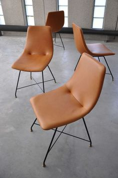 Augusto Bozzi; Enameled Metal and Leather Chairs for Saporiti, 1958.