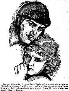1933 newspaper illustration Douglas Fairbanks, Jr. and Bette Davis in PARACHUTE JUMPER. Click through for more!
