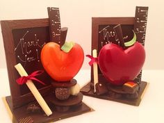 Teachers appreciation gifts are in the house! Chocolate Work, Chocolate Fondant, Chocolate Gifts, Chocolate Molds, Homemade Chocolate, Chocolate Recipes, Chocolates, Chocolate Showpiece, Edible Centerpieces